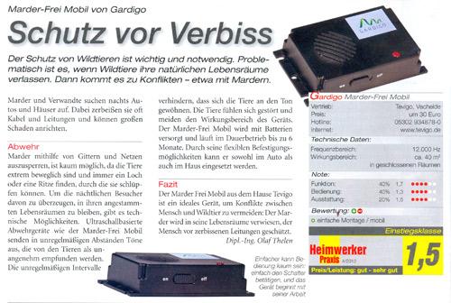 Heimwerker Praxis - 4/2012 - Marder-Frei Mobil Test